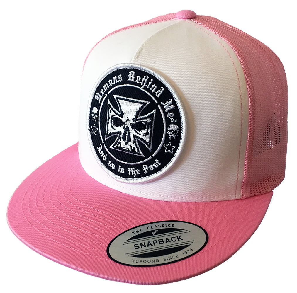 Pink   White Flexfit Classic Trucker Hat w  Embroidered Patch – Demons  Behind Me  47e5e6b2631