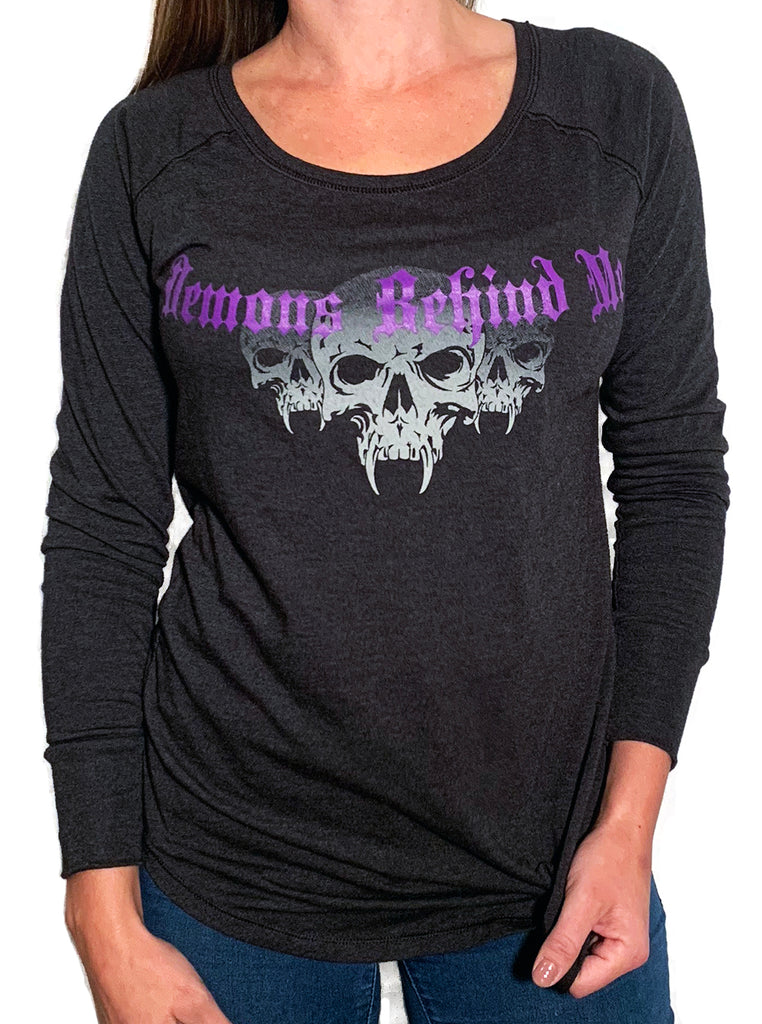 Women's Long Sleeve, Heather Black Scoop - Cross & Angel Wings