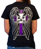 Women's Deep V Black T-Shirt - Angel Wings & Purple Cross