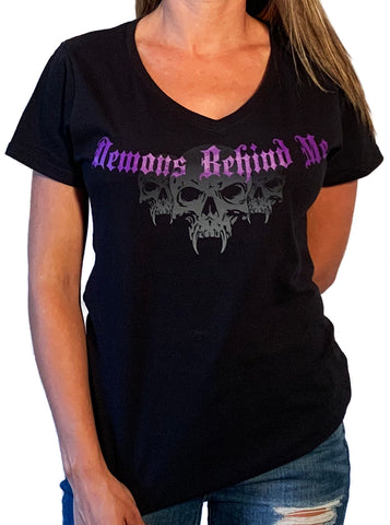 Women's Black Tank Top - Wings & Purple Cross