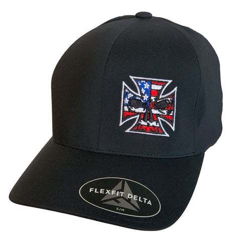 Flexfit Black & White Fitted Trucker Hat - Red, White & Blue Stitch Maltese Cross