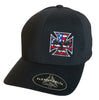 Flexfit Delta Performance Fitted Hat - Red, White & Blue Stitch Maltese Cross