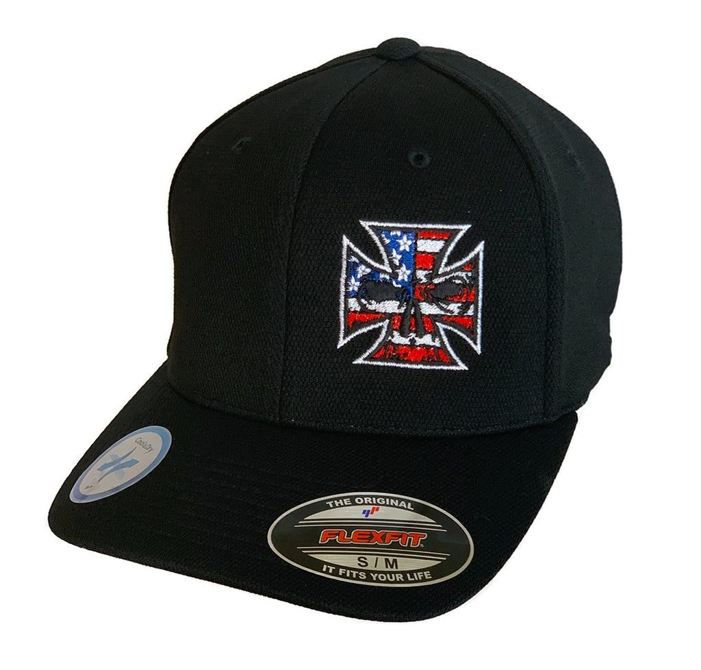 NEW Black Flexfit Never Fade Fitted Hat - Red, White & Blue Stitch Maltese Cross