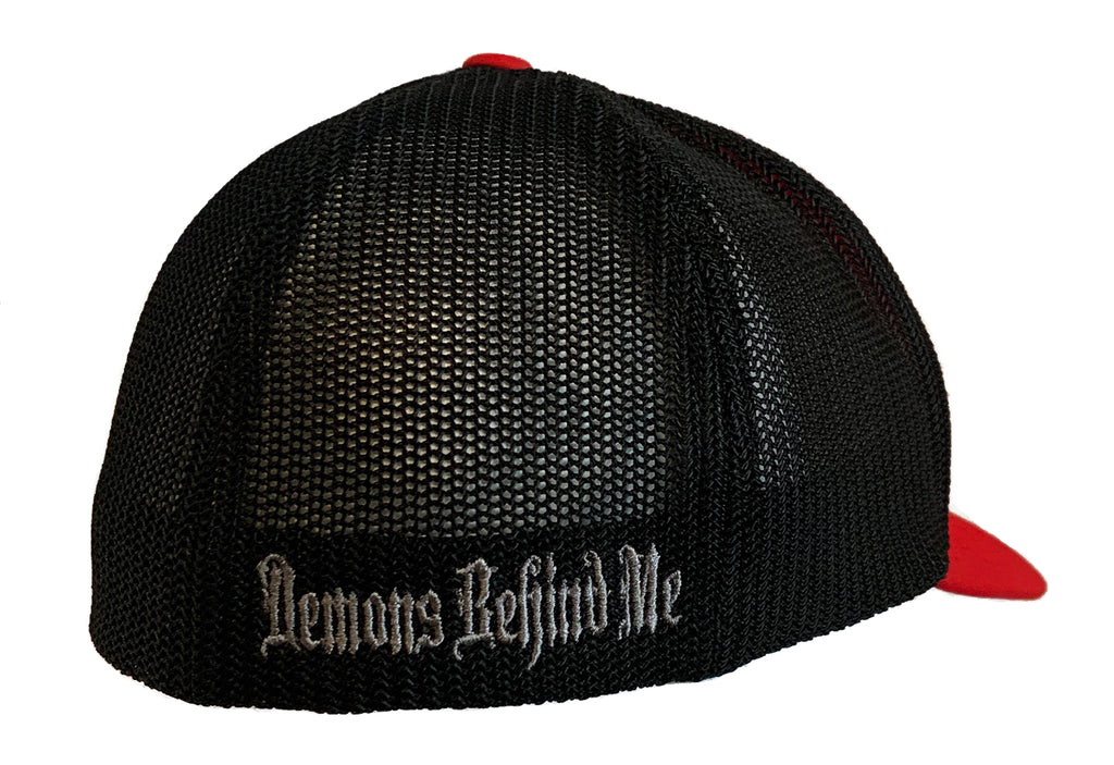Red & Black Fitted Trucker Hat - White  Stitch Cross