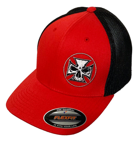 Delta Performance Fitted Hat Red - White Stitch Cross