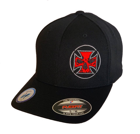 Flexfit Delta Performance Fitted Hat Red - White Stitch Maltese Cross