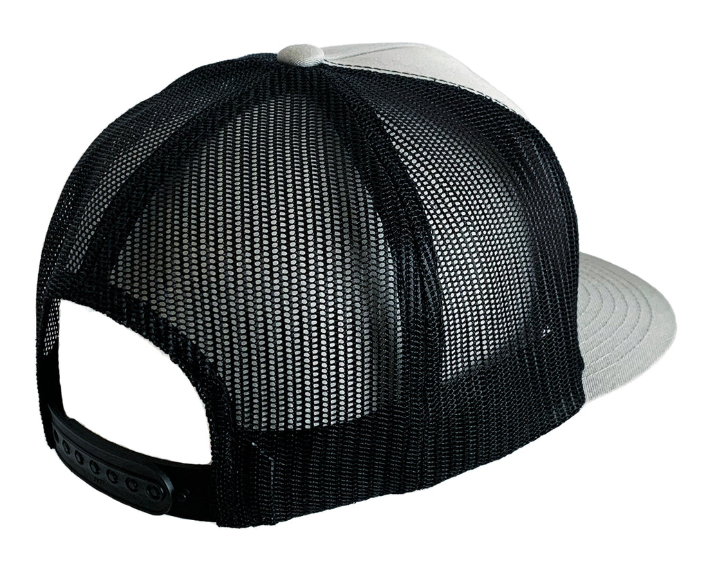 Black & Silver Flexfit Classic Trucker Hat w/ Embroidered Patch
