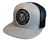 Black & Silver Classic Trucker Hat w/ Embroidered Patch