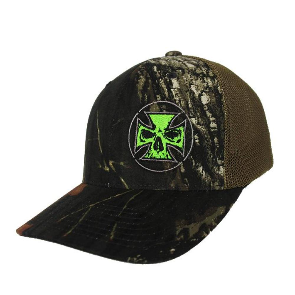 Flexfit Camo Fitted Trucker Hat - Neon Green Stitch