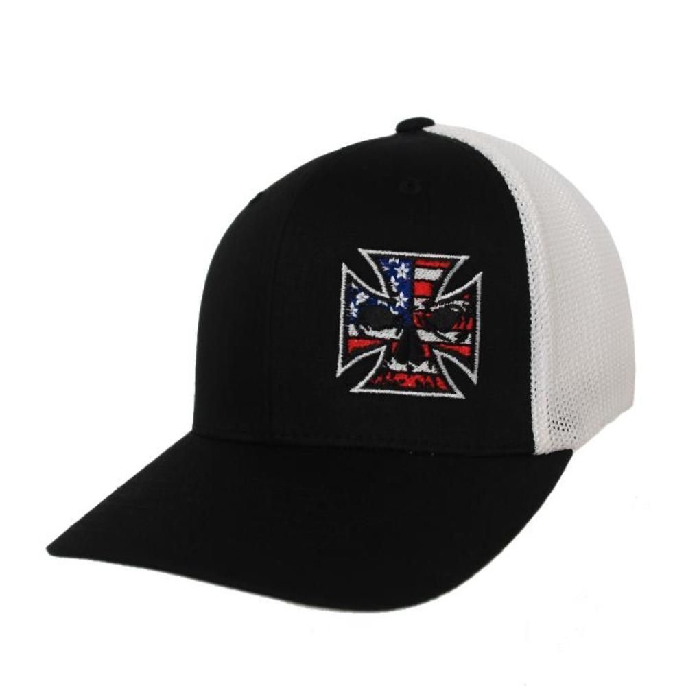 Black & White Fitted Trucker Hat - Red, White & Blue Stitch