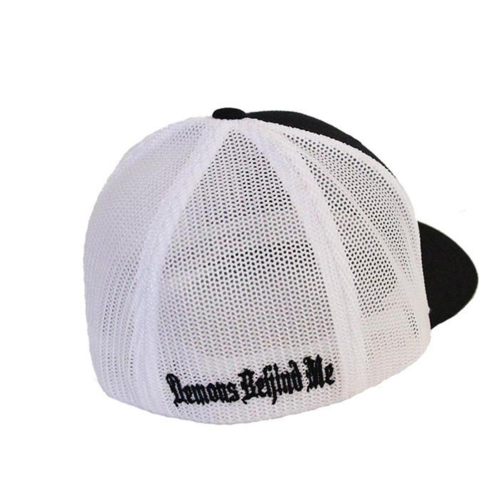Black & White Fitted Trucker Hat - Red Stitch Cross