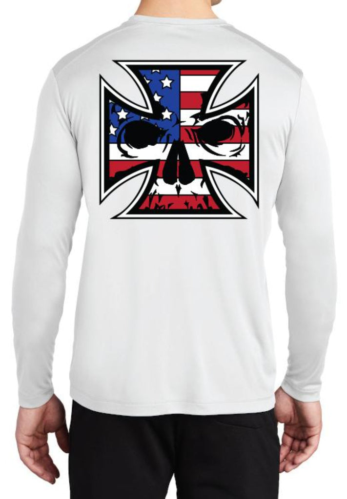 NOW AVAILABLE Unisex White Sport-Tek Light-Weight UV Long Sleeve T-Shirt - Red, White & Blue Ink