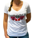 NEW! Women's Deep V White T-Shirt - Red & Neon Pink Wings & Roses 2.0