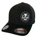 NEW Black Flexfit Never Fade Fitted Hat - White Stitch Maltese Cross