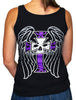 NEW! Women's Premium Black Tank Top - Wings & Purple Cross 2.0