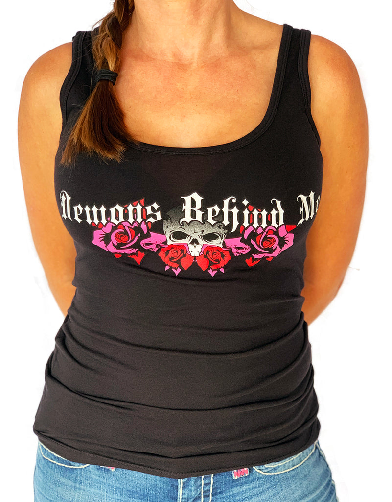 NEW! Women's Premium Black Tank Top - Wings & Roses 2.0