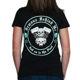Women's Deep V Black V-Twin T-Shirt - Aqua Blue Ink
