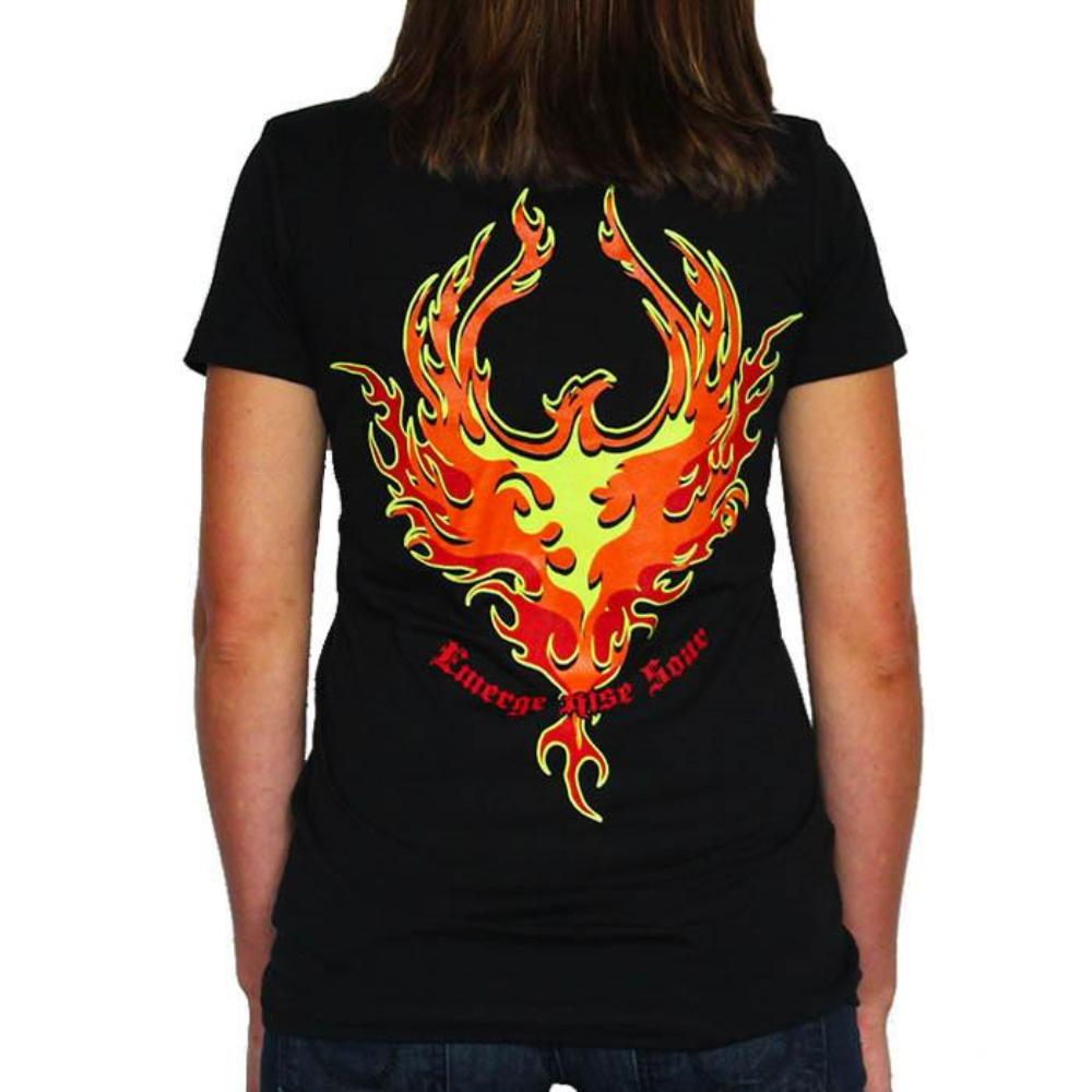 Women's Deep V Black T-Shirt - Phoenix Rising - Red, Neon Yellow, Neon Orange Ink