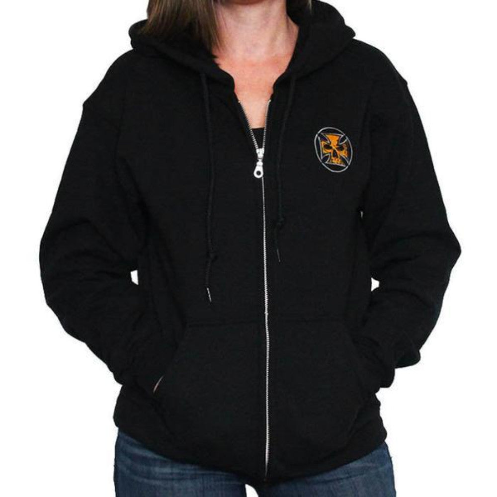 Black Unisex Zip-Up Hooded Sweatshirt