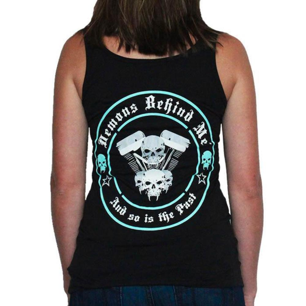Women's Black V-Twin Tank Top - Aqua Blue Ink