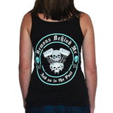 Womens Black V-Twin Tank Top - Aqua Blue Ink