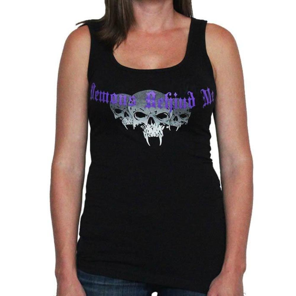 Womens Black Tank Top - Purple Cross