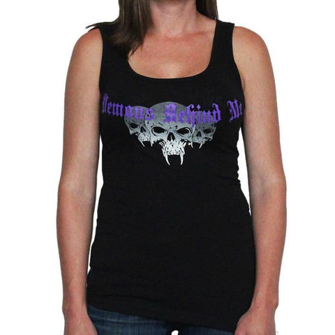 Womens Deep V Black Tee Shirt - Purple Cross