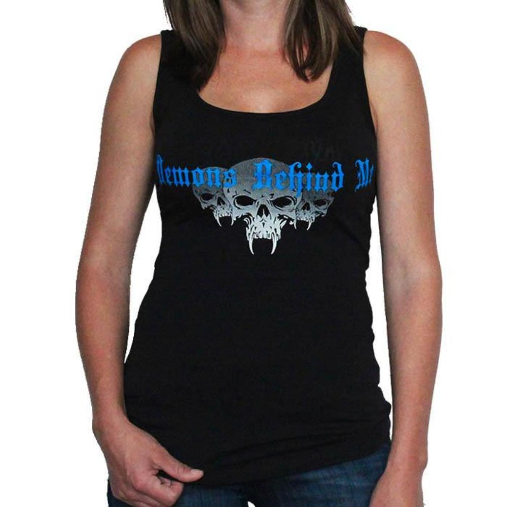 Womens Black Tank Top - Royal Blue Ink