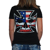 Women's Deep V Black T-Shirt - Red, White & Blue Ink