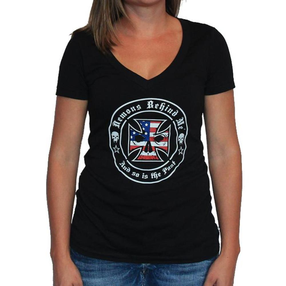 NEW! Women's Premium Deep V Black T-Shirt - Red, White, & Blue Maltese Cross
