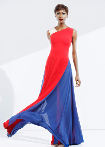 Nuraniya-RED AND BLUE SWIRL GOWN