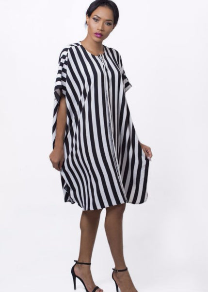 Nuraniya-STRIPED SHIFT DRESS