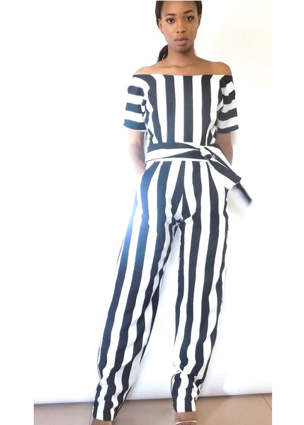 Adey soile stripped Jumpsuit