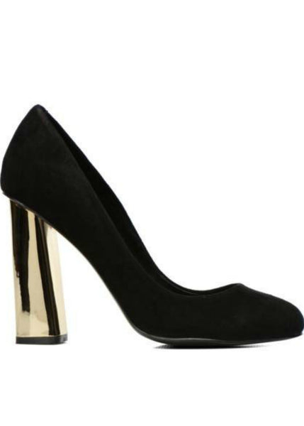 Keke Pro-Gold Block Heel Shoes- Black