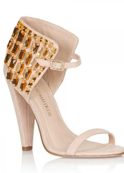 Keke Pro-Embellished Ankle sandals-Nude
