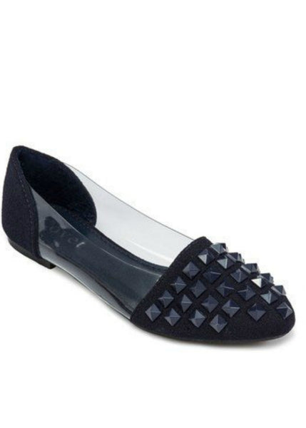 Keke Pro-Studded Ballet Flats with Transparent Sides-Black
