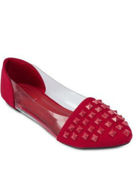 Keke Pro-Studded Ballet Flats with Transparent Sides-Red