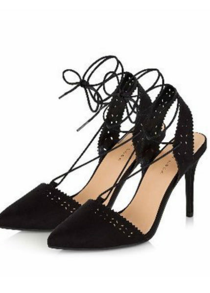 Keke Pro-Pointed cut out sling backs-Black