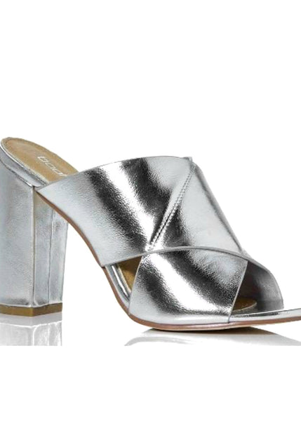 Keke Pro-Cross Strap Block Heel Sandals-Silver