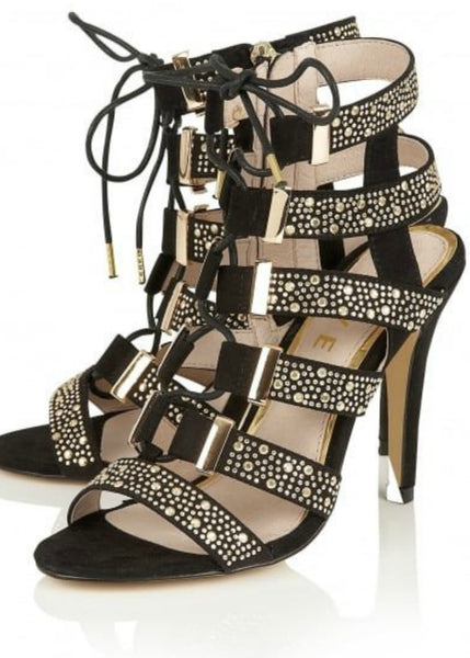 Keke Pro-Lace up sandals- Black/Gold