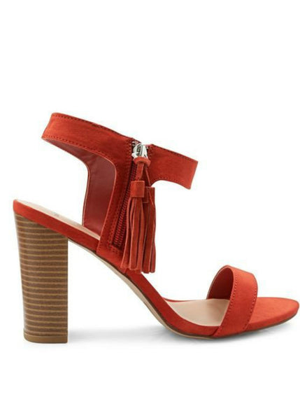 Keke Pro-Orange suede block heels-wide fit