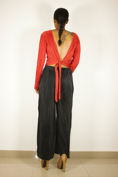 Meriah Baccci wrap Backless Top