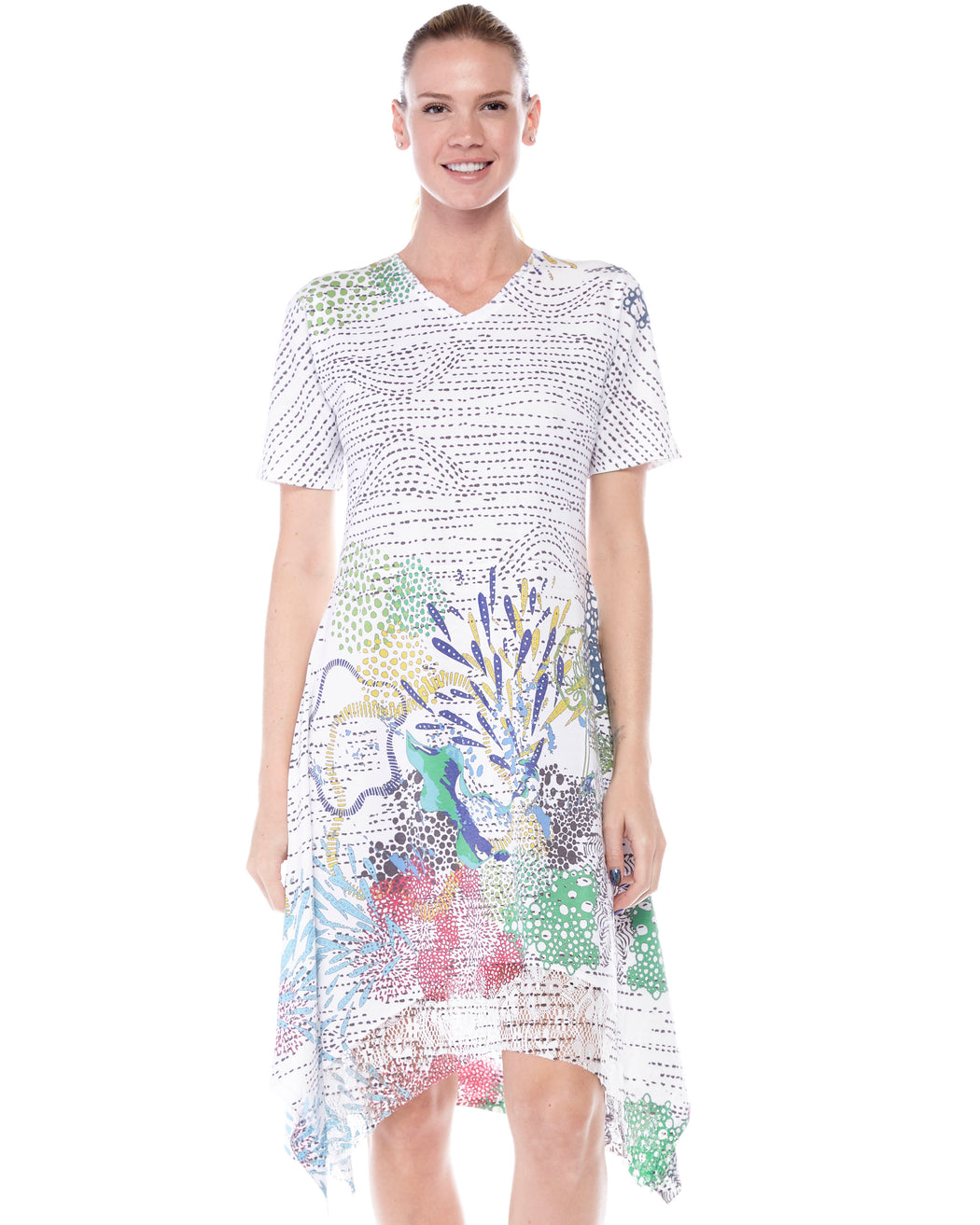 Handkerchief Hem T-shirt Dress in Coral Reef Print - Atelier5