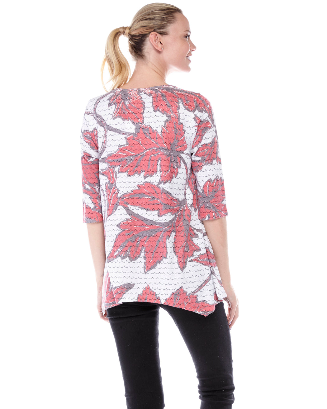Azra Handkerchief Hem Top in Cherry Leaves Print - Atelier5