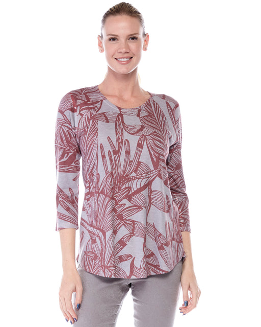 Tunic 2 in Burgundy Leaves Print - Atelier5