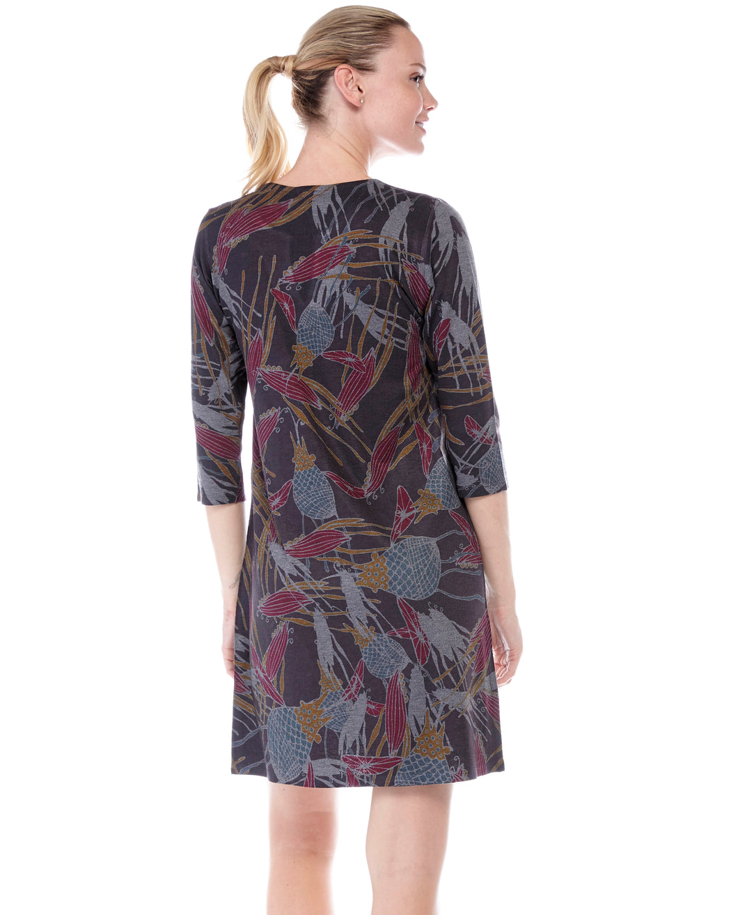 Hawaiian Notch Neck Dress in Royal Print - Atelier5