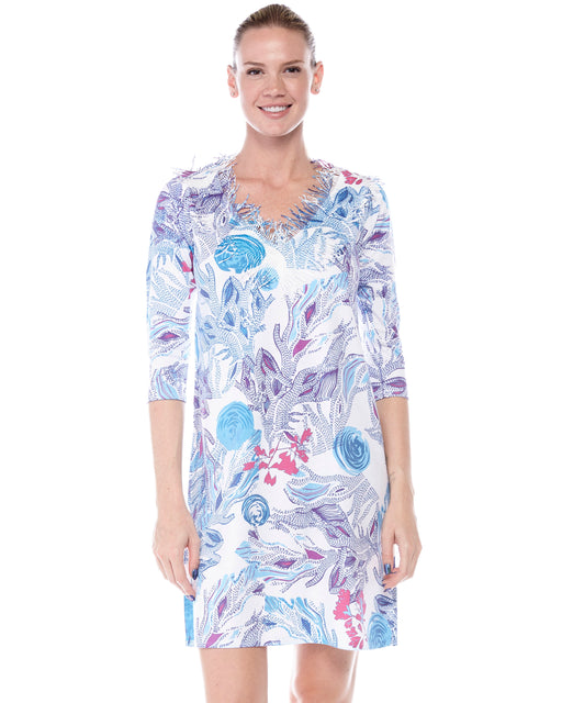 Coral Neck Dress in Deep Blue Sea Print - Atelier5
