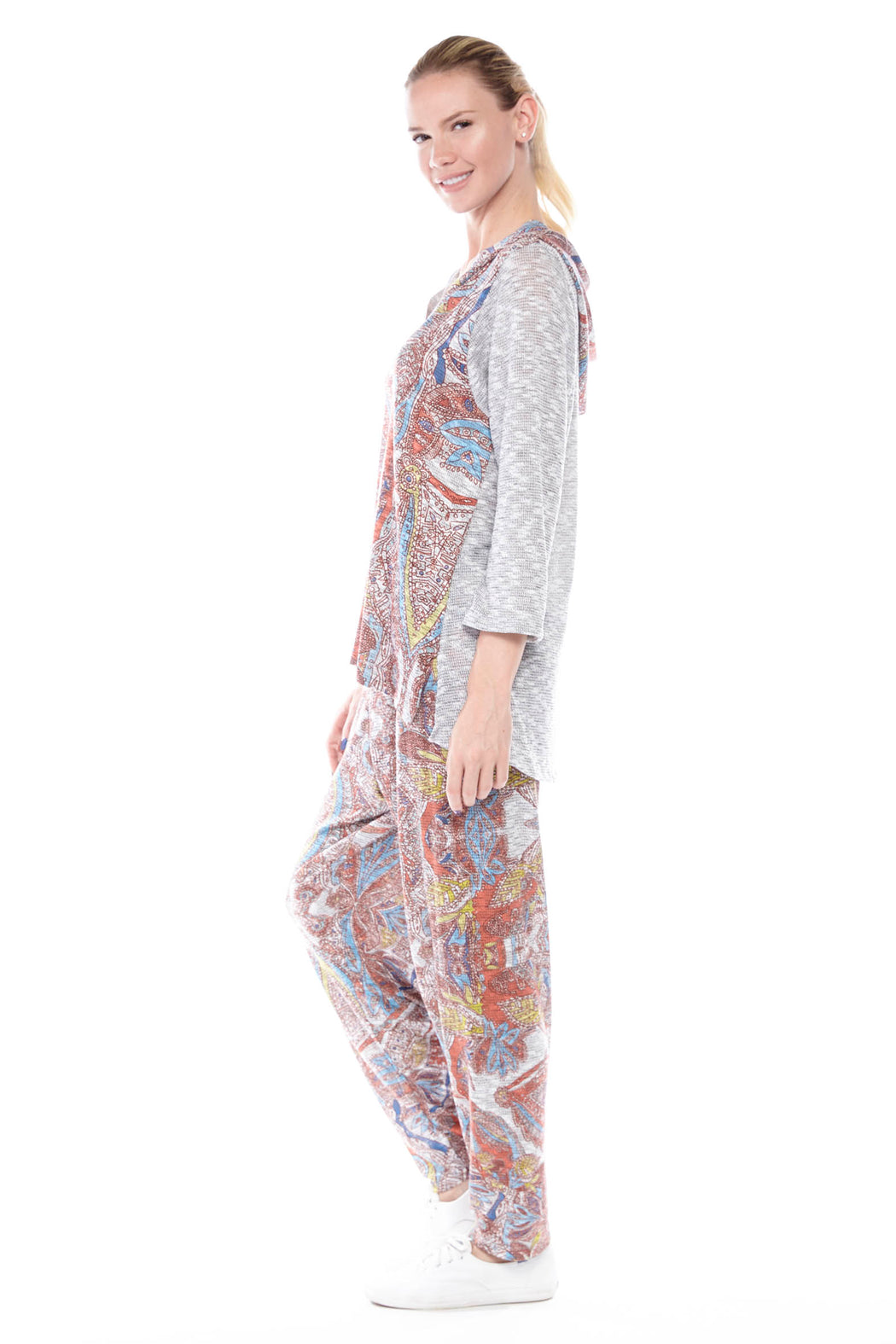 Heather Grey Jogger Pants in Paisley Print - Atelier5