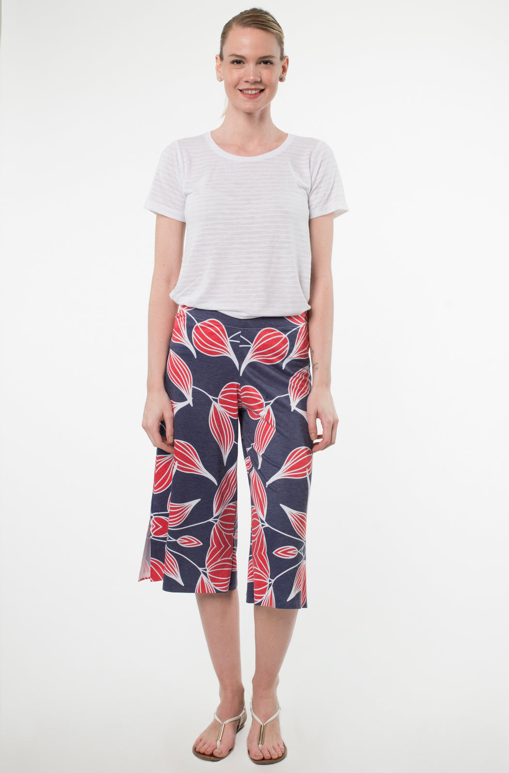 Cropped Wide Leg Pants in Oignons Print - Atelier5