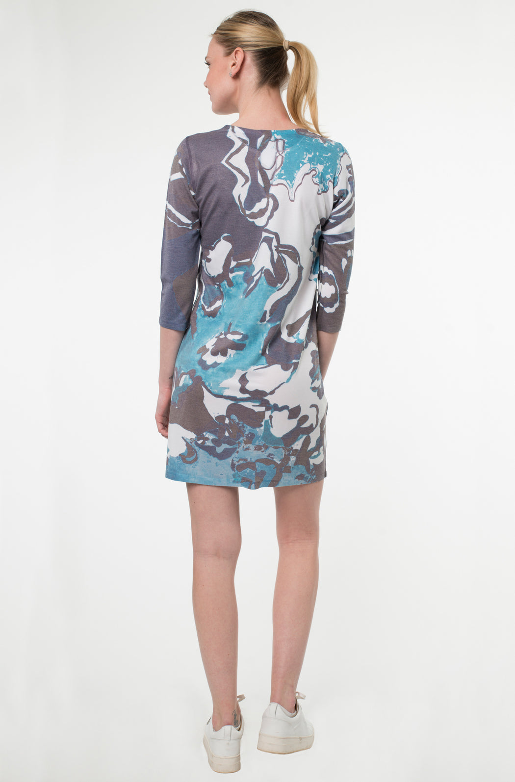 Hawaiian Notch Neck Dress in Eau Print - Atelier5
